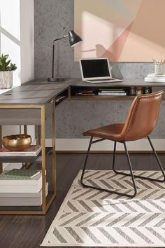 Dress up your home office with a new sophisticated desk from Better Homes & Gardens at Walmart. #homeoffice #office #desk #lshapeddesk #deskideas #sleekoffice #stylishoffice #moderndesk Office Necessities, Desk Essentials, Open Shelving, Shelves, L Shaped Desk, Stylish Office, Modern Desk, Affordable Furniture, Better Homes And Gardens
