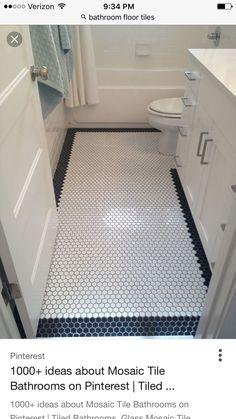 "Floor Tile Design with Border. 18 Floor Tile Design with Border. Diagonal with Mosaic Border Ceramic ""rug"" Bath Tiles, Bathroom Tile Designs, Bathroom Floor Tiles, Hex Tile, Bathroom Colors, Penny Tile Floors, Hexagon Tiles, Marble Mosaic, Tiling"