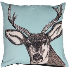 Stag Print Cushion Cover in Blue (71 AUD) ❤ liked on Polyvore featuring home, home decor, blue accent pillows, handmade home decor, blue toss pillows, blue home accessories et blue throw pillows