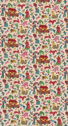 Noah's Ark   Furnishing fabric by J H Birtwhistle Ltd.