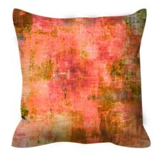 GENTLE MEADOWS Greenery Coral Peach Abstract Art Decorative Suede Throw Pillow Cushion Cover by EbiEmporium, #orange #coral #peach #pillowcover #throwpillow #EbiEmporium #olive #colorful #summer #spring #pantone #greenery #abstract #homedecor #modern #chic #boho #suede #botanical