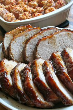 Glazed Pork Roast.  Made this in the crockpot and reserved some of the liquid to pour on the meat later.  Was really good!