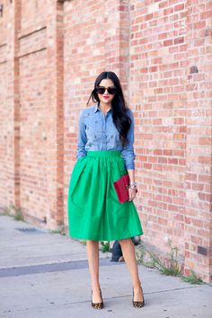 party skirt and jeweled chambray