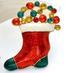 Vintage Christmas Rhinestone Stocking Brooch Enamel Green Red Holiday Pin #Unbranded #Christmas