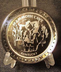 Vintage Silver Metal Alloy and Glass Mammoth Cave Souvenir Coaster/Ashtray EUC