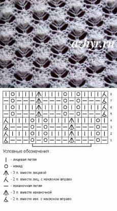 Вязание спицами - узоры спицами - мелкий ажурный