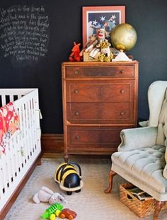 Love the idea of chalkboard paint in the baby room for when they get old enough but only on one wall or a section of a wall