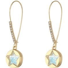 Betsey Johnson Blue Shaky Star Shepherd's Hook Earrings (Blue) Earring ($35) ❤ liked on Polyvore featuring jewelry, earrings, charm jewelry, blue charm, hook jewelry, earring jewelry and round earrings