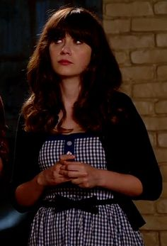Zooey Deschanel's Blue gingham check dress on New Girl.  Outfit Details: http://wwzdw.com/z/4494/ #WWZDW