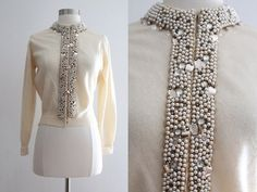 1950s Cashmere Cardigan / Vintage 50s Hadley Cashmere White Sweater with Pearl Rhinestone Sequin Embellishment / 50s Beaded Sweater - M/L on Etsy, $150.00