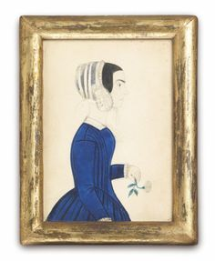Robert Young Antiques - Collection. Two Portraits of Young Ladies in Blue Dresses #FolkArt