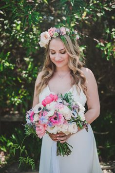 Boho floral crown & colorful bouquet: http://www.stylemepretty.com/california-weddings/del-mar-california/2015/08/09/romantic-diy-california-spring-wedding/ | Photography: Shelly Anderson - http://www.shellyandersonphotography.com/