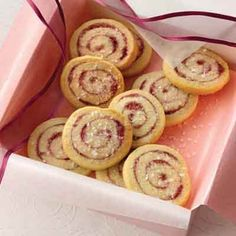 Raspberry Lemon Spirals Recipe from Land O'Lakes Spice Cookies, No Bake Cookies, Cookie Bars, Pinwheel Cookies, Galletas Cookies, Holiday Cookies, Holiday Bars, Holiday Gifts, Cookie Recipes