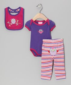 Coo little cuties with this versatile set and keep them covered in adorable comfort. Snaps on the bodysuit and elastic on the pants allow for easy changing, while the bib secures mess-free mealtimes. With the appliqués and delightful print, this mix is too precious to pass up.Includes bodysuit, pants and bib100% cottonM...