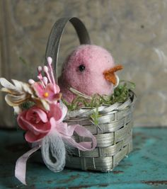 Sweet Pink Pastel Spring Wool Chick in a Tiny by juliecollings