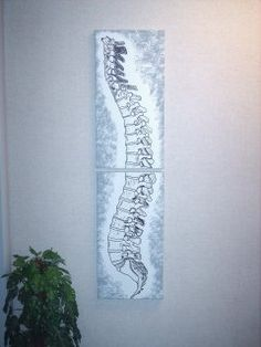 Chiropractic Art doesn't have to be expensive! We offer unique hand painted chiropractic paintings and more. Check out our popular double and single canvas spine paintings. We also offer hand painted vertebrae paintings, chiropractic caduceus. Benefits Of Chiropractic Care, Chiropractic Therapy, Chiropractic Office, Office Art, Office Decor, Office Ideas, Massage Therapy Rooms, Clinic Design, Design Elements