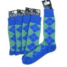 94a01cfed09 K.Bell Royal blue and green cotton argyle dress socks-Men s Dress Socks