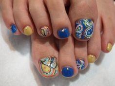 Colorful paisley toe nail art