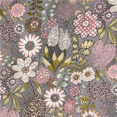 grey A Ghastlie Garden flower fabric by Alexander Henry The Ghastlies 1