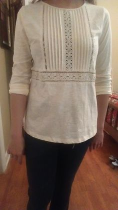 StitchFix #10 - KEPT, but SOLD. Skies are Blue Sada Eyelet Detail Knit Top. Correct size and comfy, but boxy on me. I didn't think it did anything to accentuate my figure. https://www.stitchfix.com/referral/4454362