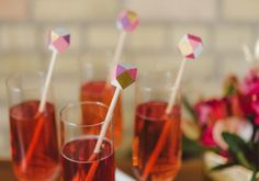Geometric stir sticks with pinks and gold - a cute way to spruce up any cocktail!