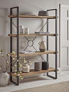 A most versatile piece of furniture, our Leaning Oak Ladder Shelf features five generous shelves and sits beautifully across many interior looks with its stylish contemporary form. Use for your homeware essentials in your kitchen or study, or for the di Loft Furniture, Living Furniture, Living Room Decor, Furniture Design, Furniture Storage, Furniture Outlet, Furniture Ideas, Kitchen Shelving Units, Open Shelving