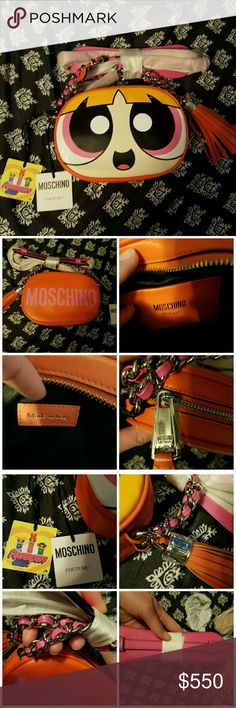 AUTHENTIC MOSCHINO POWERPUFF GIRLS BAG 100% authentic. Blossom from Powerpuff Girls by Moschino. Genuine calf leather. Zippered closure. Silver tone hardware. Single tassel. Chain strap. Strap is adjustable and comes with a shoulder pad. Orange and pink. New with tags. Made in Italy.   RETAIL PRICE IS $785  Tags: cartoon, moschino, authentic, name brand, leather, genuine, Blossom, pink, orange, tassel, chain, strap, adjustable, zipper, pocket, cartoon network, character, popular, fashion…