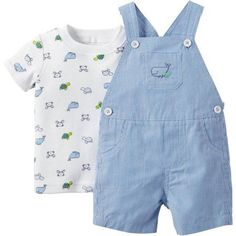Child of Mine made by Carter's Newborn Baby Boy Shirt and Overall Outfit Set 2 Pieces - Walmart.com