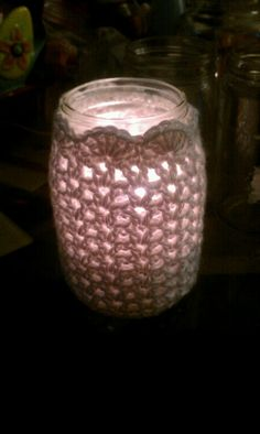 Crochet mason jar candle! Maybe for a casual country wedding centrepiece ...