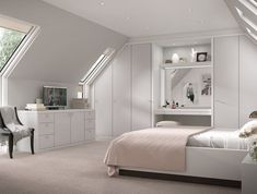 nice 55 Stunning Grey Bedroom Flooring Ideas For Soft Room White Gloss Bedroom Furniture, Large Living Room Furniture, Attic Bedroom Designs, Room Ideas Bedroom, Bedroom Decor, Loft Room, Bedroom Loft, Loft Conversion Bedroom, Fitted Bedrooms