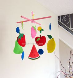 Customize Baby Mobile - Fruit Theme Nursery Crib Mobile - Watermelon, Strawberry, Lemon, Blueberry, Pear Hanging Mobile (Choose your color)