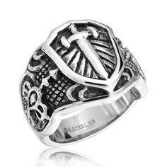Bling Jewelry Celtic Medieval Cross Stainless Steel Mens Ring