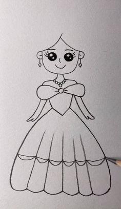 Easy Cartoon Drawings, Cute Easy Drawings, Art Drawings For Kids, Art Drawings Sketches Simple, Cute Doodle Art, Cute Art, Disney Princess Drawings, How To Draw Princess, Diy Canvas Art