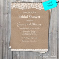 Lace Rustic Bridal Shower Invitation, Adult party invitation, Shabby chic Invitation DIGITAL FILE also available professionally printed by YuyaPaperie on Etsy Shabby Chic Invitations, Rustic Bridal Shower Invitations, Bridal Shower Rustic, Rustic Wedding, Our Wedding, Wedding Invitations, Bridal Showers, Printable Invitations, Wedding Ideas