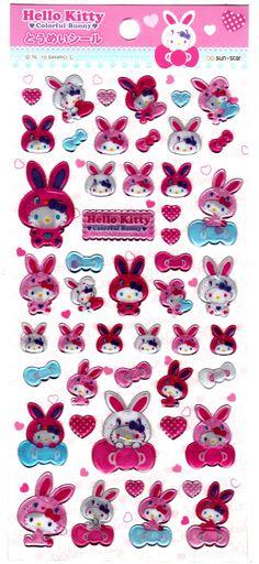 Sanrio+Japan+Hello+Kitty+Colorful+Bunny+Epoxy+Sticker+Sheet+by+Sun-Star+(B)+2010+Kawaii