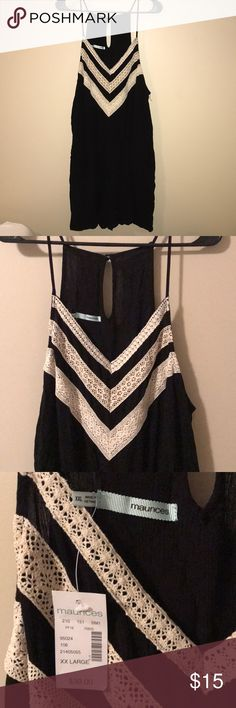 NWT Black romper with cream detailing Bought it NWT here on Posh. Tried it on but rompers just aren't for me! Maurices Pants Jumpsuits & Rompers
