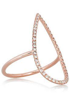 DIANE KORDAS  Teardrop 18-karat rose gold diamond ring