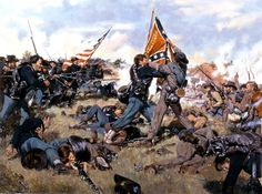 """""""Fight for the Colors"""" Corporal Waller of the Iron Brigade grapples for the colors of the 2nd Mississippi Regiment at the railroad cut , July 1, 1863 Gettysburg."""