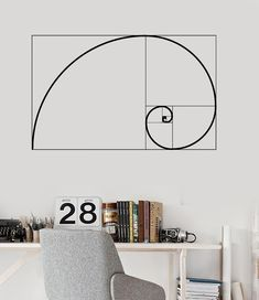 Vinyl Wall Decal Golden Ratio Geometry Math School Mural Stickers (ig3637)