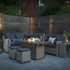 The Palma Fire Pit Table from the Casual Dining range is more than just wicker garden furniture. Light the fire pit and stay warm on a summer evening. Backyard Seating, Garden Seating, Backyard Patio, Backyard Landscaping, Garden Decking Ideas, Sunken Patio, Outdoor Sofa Sets, Outdoor Living, Outdoor Decor
