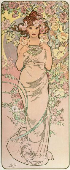 Alphonse Mucha - Les Fleurs via Plum leaves