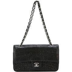 Chanel Pre-Owned Chanel Black Crocodile Shoulder Bag ($22,500) ❤ liked on Polyvore featuring bags, handbags, shoulder bags, black, black handbags, genuine leather purse, purse, accessories handbags and chain shoulder bag