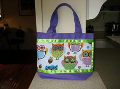 Girl's Purple & Lime Green Owl Bag.  Perfect graduation gift for a girl who loves owls. by quiltbarnsandfolkart, $15.00