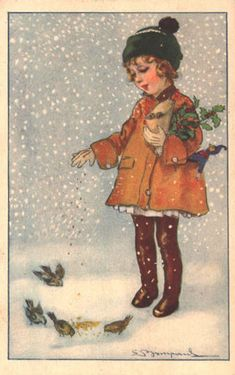 "Bompard postcard   Vintage Winter -  Also see N. Kelly's  ""Christmas Images"" board."