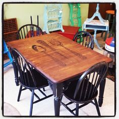 Unique table set that we stenciled, stained and painted with Miss Mustard Seed's Typewriter & Curio.  Sealed with Hemp Oil.