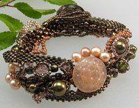 Vintage Blush Freeform Peyote Bracelet - Beading Daily #beadwork