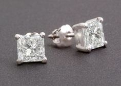 2.0 Ctw Princess Cut in Solid 14k Real White Gold Basket Stud Screwback Earrings #Yunji #Stud