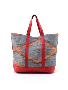 Tote Bag by Rudimentary on Guruwan.com | Tote Kilim1Material : 100% linen with 100%leather-redLining 100% linen.Handle drop: 18cm