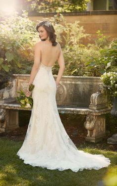 lace over Lavish satin sheath wedding gown from Essense of Australia / http://www.himisspuff.com/open-back-wedding-dresses/10/