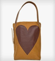 Heart Tote Bag   Heart Tote is made with midweight natural organic canvas and v...   Tote Handbags